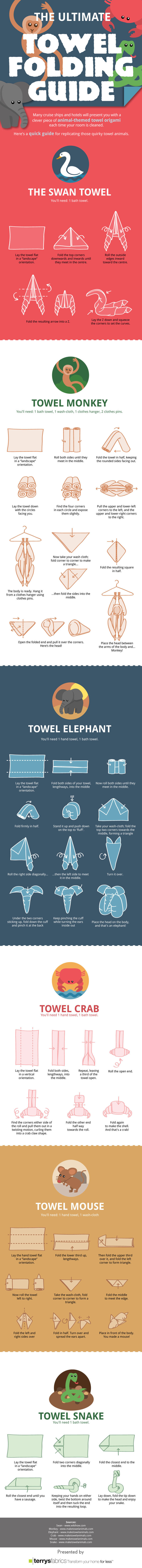 Guía para hacer figuras de animales con las toallas